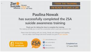ZSA Paulina nowak certificate