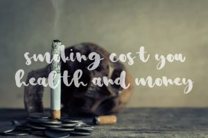 Smoking cost you healh and money cigarette but skull and coins